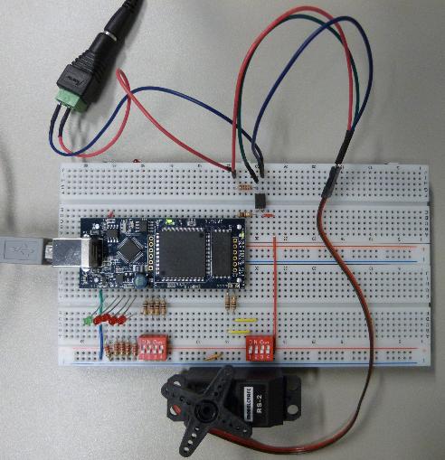 Foto1 - Aufbau der FPGA-Servoschaltung.