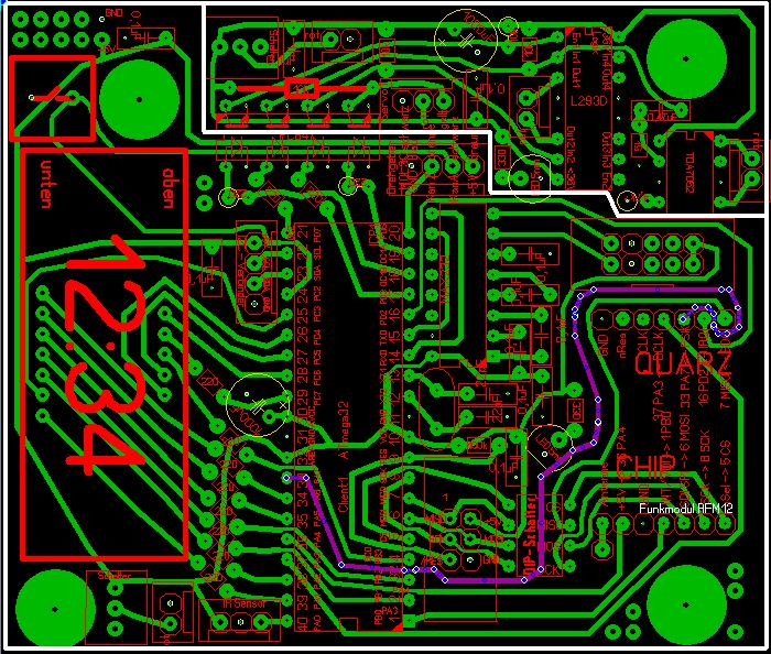 Verbindung PA7 am Mikrocontroller mit FSK am Sende/Empfangs-Modul