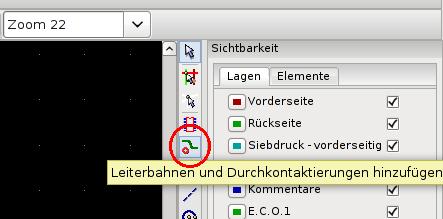 Menüauswahl: Neue Leiterbahn zeichnen.