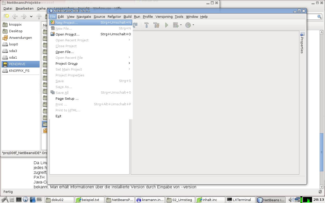 Neues Projekt anlegen in NetBeansIDE.