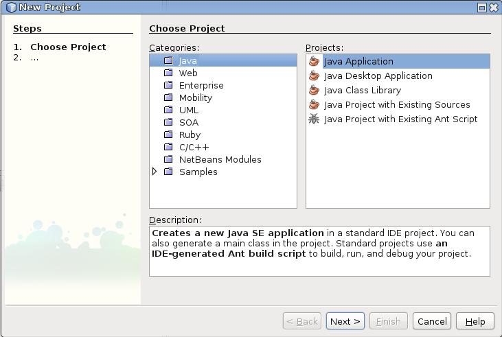 Als Projekttyp eine Java-Anwendung erzeugen.