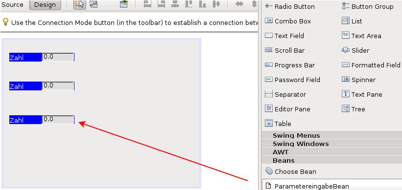 Drag & Drop einer selbst entwickelten JavaBean in ein Fenster, das von der Klasse JFrame erbt.
