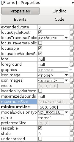 Einstellen von minimumSize mit 500x500 Pixeln.
