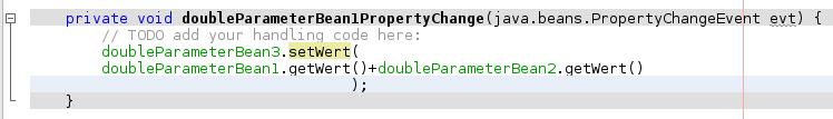 Von Hand ergänzter Code: Was ist zu tun, wenn sich bei Objekt doubleParameterBean1 ein PropertyChanged-Ereignis auftritt?