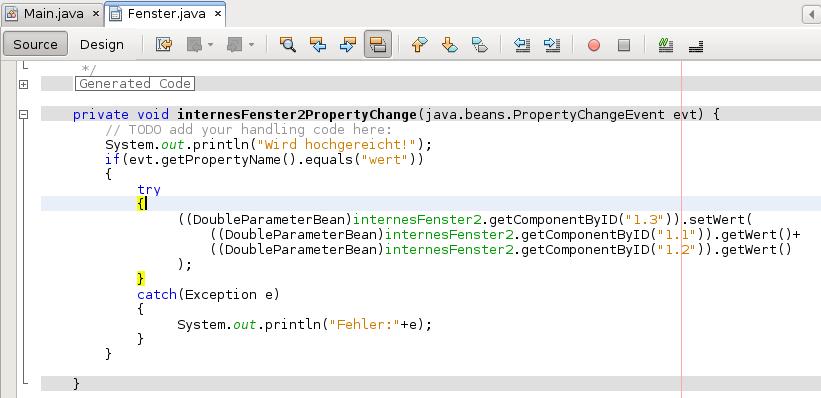 Vervollständigen der automatisch erstellten Methode internesFenster2PropertyChange(java.beans.PropertyChangeEvent evt).