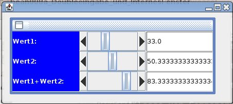 Screenshot der zum Test gestarteten Anwendung mit internem Fenster.