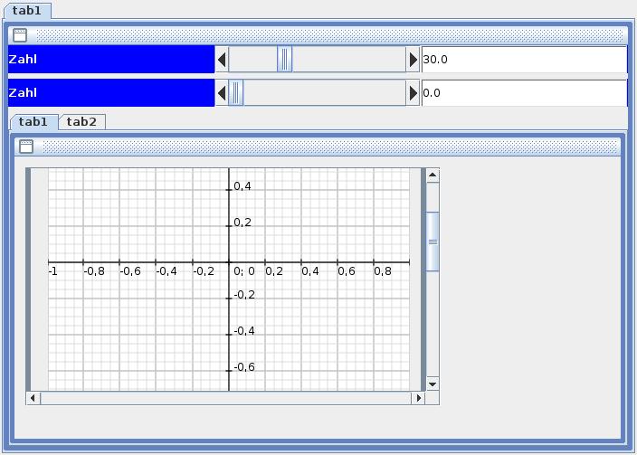 Screenshot einer mit NetBeans-IDE realisierten Testanwendung mit Karteikarten (JTabbedPanes).
