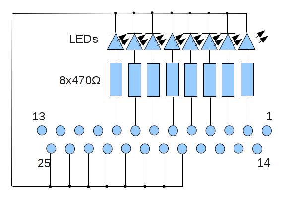 Beschaltung eines Parallelports mit 8 gegen Masse gelegten LEDs an D0..D7.