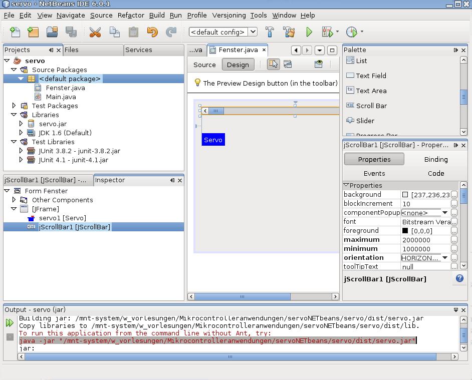 NetBeansIDE-Oberfläche nach Fertigstellung des Projekts.