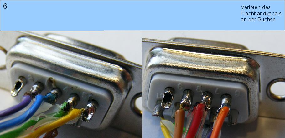 Verlöten des Flachbandkabels mit der D-Sub9-Buchse.