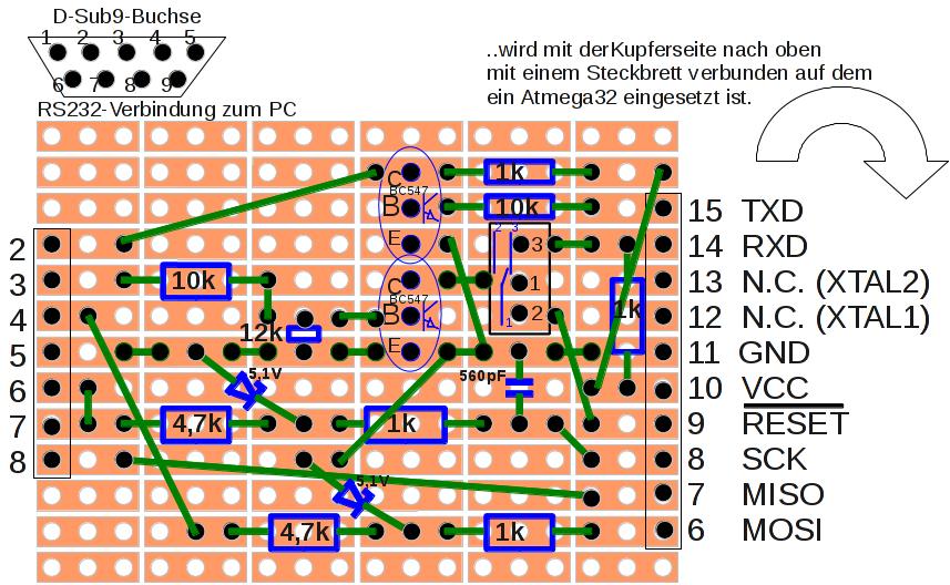 Realisierung des Seriell-ISP mit der zusätzlichen Möglichkeit zum Datenaustausch über die serielle Schnittstelle mit einer Kupfer beschichteten Lochrasterplatine mit Dreierketten.