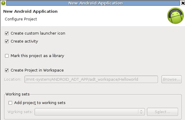 Mit eigenem Icon, mit activity (Interaktion) und Ordner im Workspace.