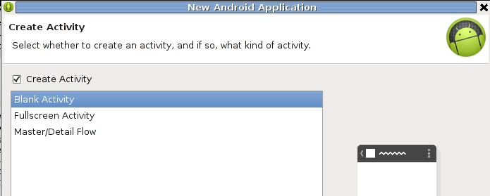 Blank Activity (default) wählen.