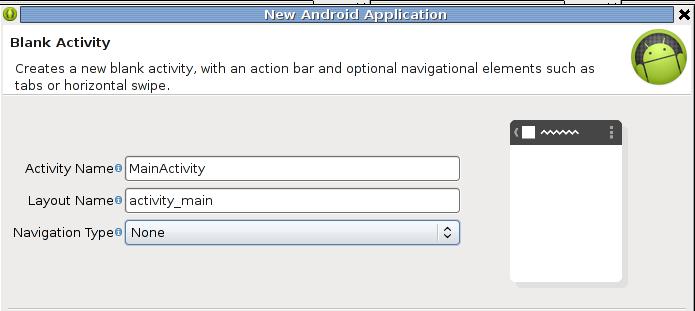Name für Activity- und Layout-Datei festlegen.