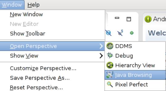 Java-Browsing-Perspective wählen.