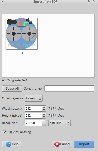 Import des pdf-Icons nach Gimp.