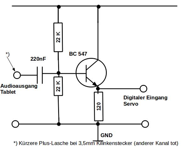 Verwendete Verstärkerschaltung für Servo-PWM-Signale.