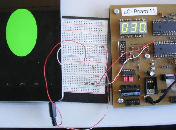 Versuchsaufbau - digitale Pulse an Mikrocontroller übertragen.