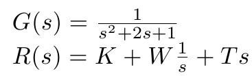 Zu optimierendes Regelsystem. Zu optimieren sind die Parameter K, W und T.
