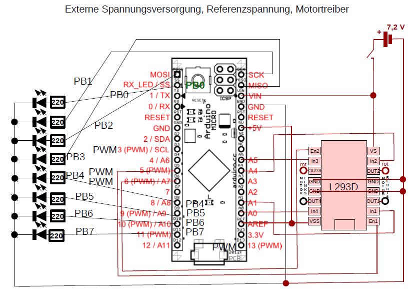 Stromlaufplan für Externe Spannungsversorgung, Referenzspannung und Motortreiber.