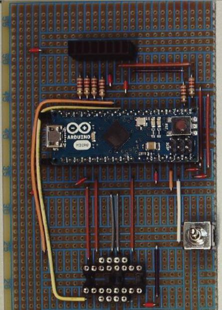 Laborplatine Externe Spannungsversorgung, Referenzspannung und Motortreiber noch mit Enable-Anschlüsse (Enable 2 noch unvollständig).