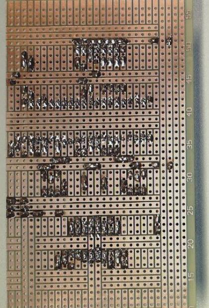 Kupferseite der Laborplatine.