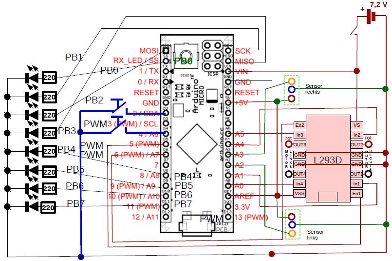 Stromlaufplan mit angeschlossenen Tastern.