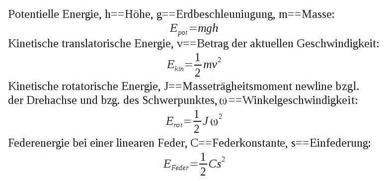 Formeln zur Berechnung der gespeicherten Energie bei einzelnen Energiespeichern.