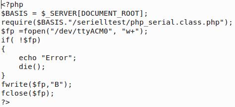 htdocs/serielltest/aus.php (htdocs/serielltest/php_serial.class.php muß auch dort liegen)