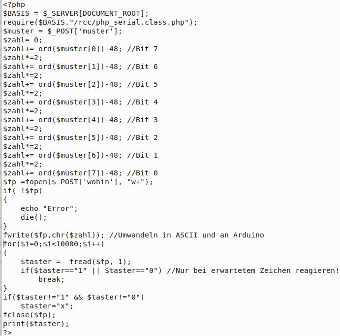 post_lesen.php - Verbindung zwischen Mikrocontroller und HTML5/Javascript-Anwendung