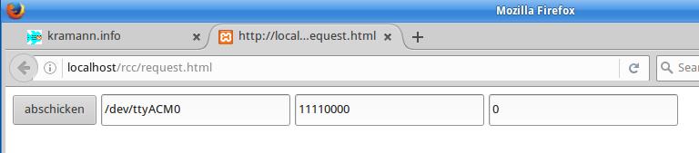 Formularoberfläche von request.html