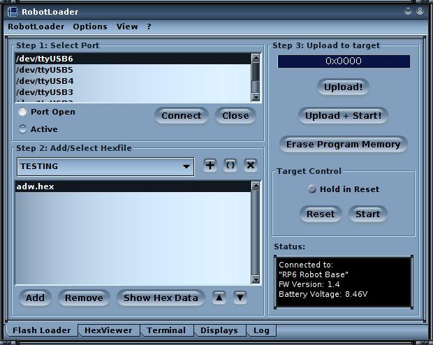 GUI von RobotLoader. (Erfolgreiche Verbindung)