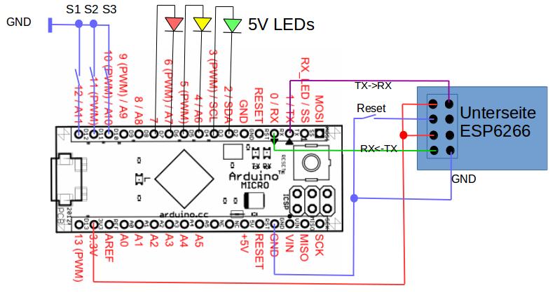 Aufbau der Arduino-Testschaltung.