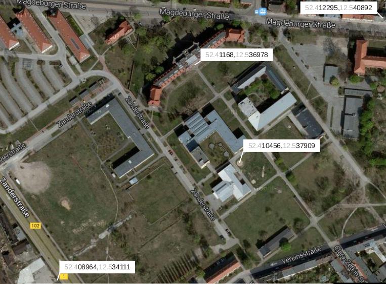 Einige Koordinaten auf dem Campus der THB.