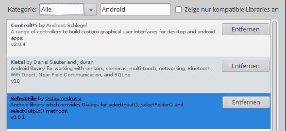 Verfügbare Android-Libraries für Processing.