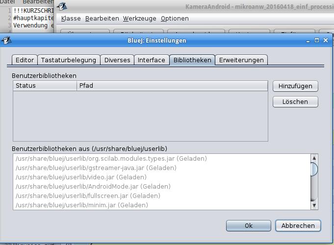 Damit BlueJ die Processing-Klassen kompilieren kann, werden die Processing Libraries in /usr/share/bluej/userlib eingefügt.