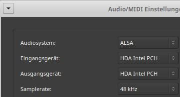 Audio-Einstellungen für das neue Ardour-Projekt: Wav-Files haben eine Samplingrate von 48kHz.