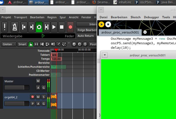 Screenshot des laufenden ersten Versuches, Ardour von Processing aus zu steuern.