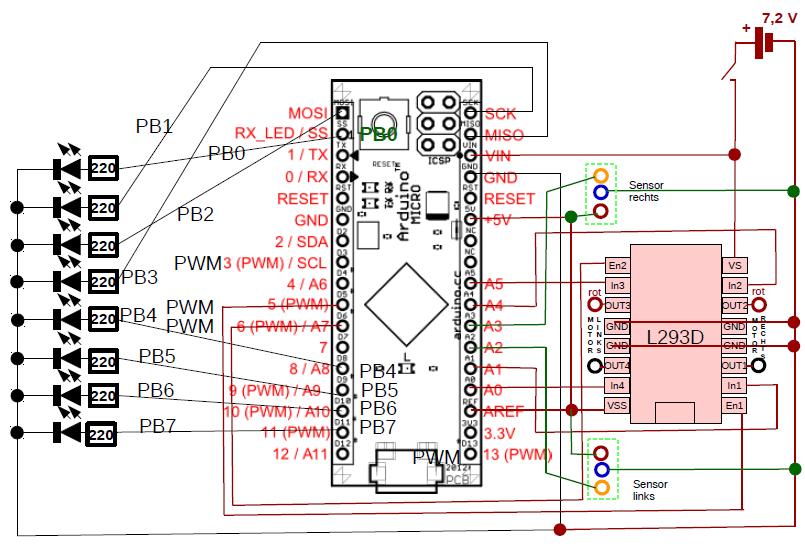 Stromlaufplan mit Sensor 1 und 2.