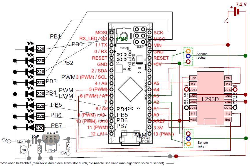 Stromlaufplan mit Mikrofonschaltung.