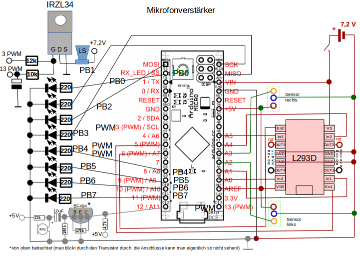 Stromlaufplan zur Lautspredcherschaltung.